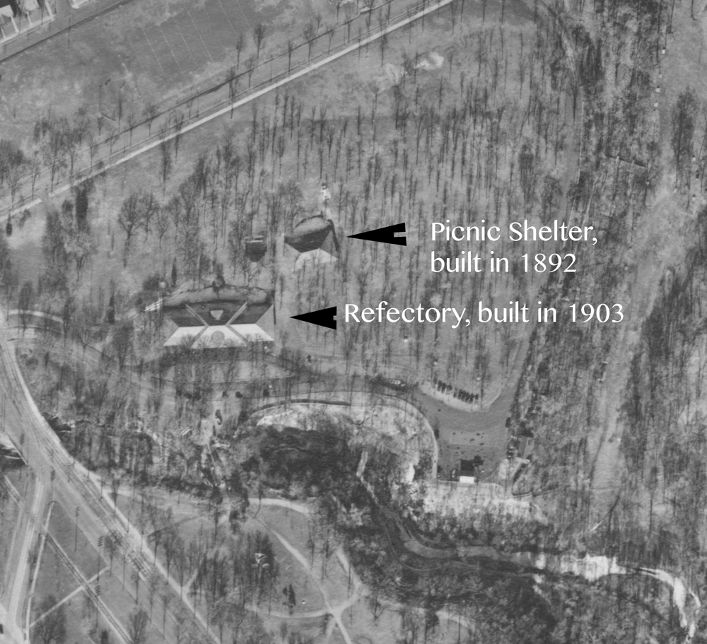 This aerial photo makes clear that the Picnic Shelter and the Refectory were not the same building, and stood at the same time.