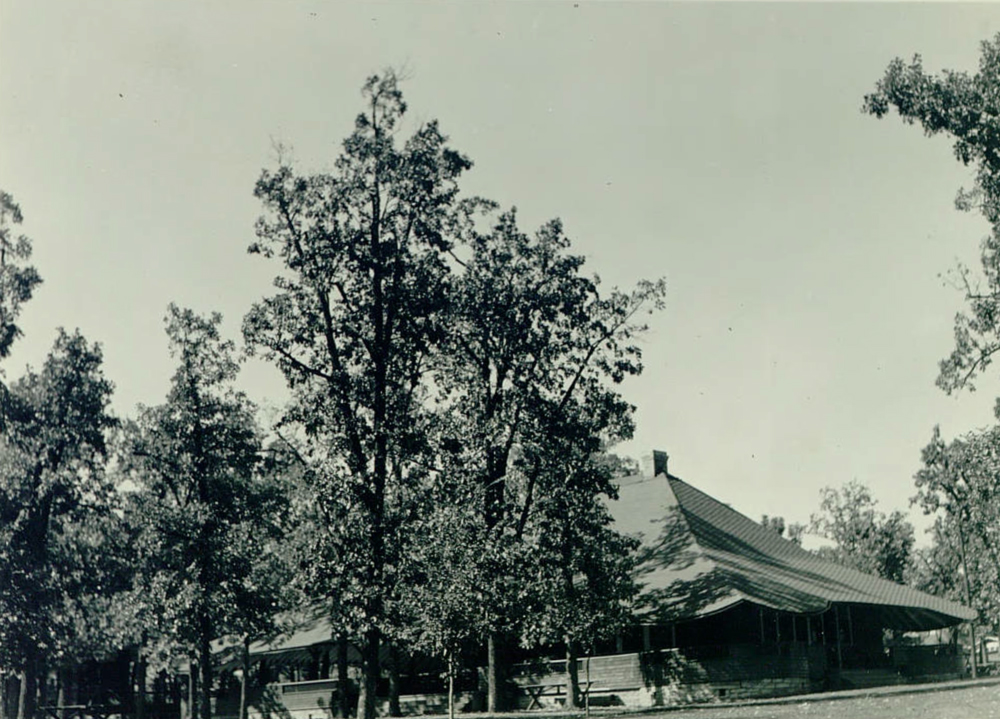 The Picnic Shelter at Minnehaha Park. While often described as a pavilion, this was never a place where the Park Board offered refreshments and it was not replaced by the Refectory with the red roof that stands today near the Falls.